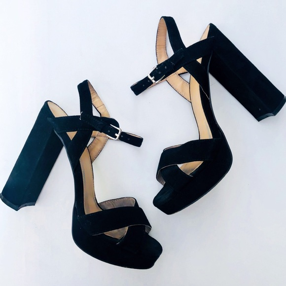db04c890c3 Topshop Shoes | Black Platform Block Heel Sandals | Poshmark